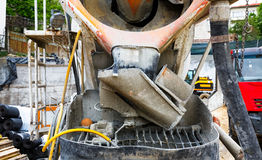 The back side of concrete truck Stock Images