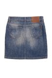 Back side of denim skirt royalty free stock photography