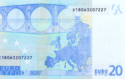Back side of 20 euro - macro fragment banknote. Stock Photo