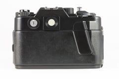 Back side of film single-lens reflex camera (SLR). On white Stock Image