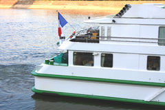 Back side of french cruise boat on the Danube river Stock Photos