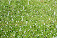 Back side the Goal at the football field. Side the Goal at the football field Stock Photography