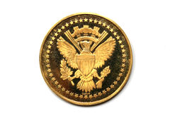 Back side of a gold coin President Kennedy Stock Images