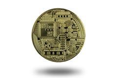 Back side of golden bitcoin isolated on white background, digita Stock Image