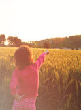Back side of happy kid looking at the sunset in wheat field , explore and adventure concept Royalty Free Stock Images
