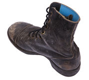 Isolated Used Army Boot - High Angle Diagonal Heel Royalty Free Stock Photo