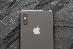 Back side of the latest generation iPhone X. Riga, Latvia - March 25, 2018: Back side of the latest generation iPhone X Stock Images