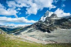Back side of Matterhorn. Mountain peak, view from Schoenbiel, Zermatt, Switzerland Royalty Free Stock Photo