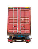 Back side of modern truck with container Royalty Free Stock Image