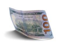 Back Side Money. Backside of a One Hundred Dollar Bill Curled Up Stock Images