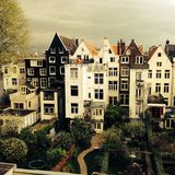 The back side of old mansion houses in Amsterdam, the Netherlands royalty free stock photo