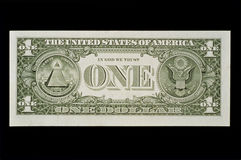 Back side of the one dollar bill. This is the back side of the one dollar bill