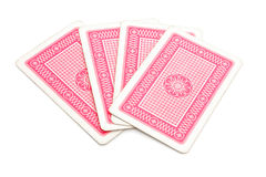 Back side of play cards. Isolated on white background Stock Photos