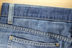Back side Texture of blue jeans Royalty Free Stock Image