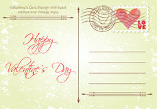 Back Side of Valentine's Day Card Stock Photography