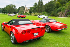 Back and side view of red Corvette 1989 Royalty Free Stock Image