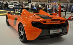 Back side view to new McLaren650S luxury orange sport car at Brianza Royalty Free Stock Photos