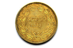 Back site of the Gold coins of Pivs IX Pont 1853 Stock Photography