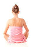 Back of sitting beautiful young woman Royalty Free Stock Photography