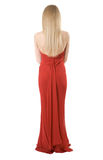 Back of the slim girl in a evening dress Stock Images