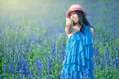 Back smiling girl in the lavender Royalty Free Stock Photos