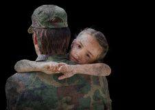 Back of soldier with daughter against black background with grunge overlay Royalty Free Stock Image