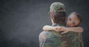Back of soldier with daughter against grey background with grunge overlay Royalty Free Stock Photo