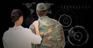 Back of soldier and wife against black background with interface stock illustration