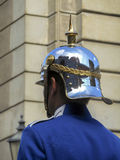 Back soldiers helmet at a parade. Royalty Free Stock Photography