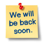 Back soon reminder Stock Photos