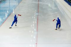 Back start athletes speed skater. Of speed skating competition Stock Image