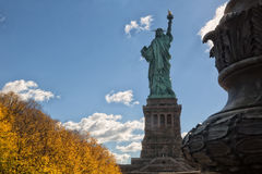 Back of the Statue of Liberty. With base Royalty Free Stock Photo