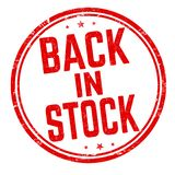 Back in stock sign or stamp stock images