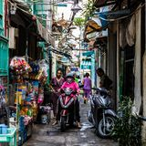 Back-street daily life at Xom Chieu Market, Saigon, South of Vietnam royalty free stock images