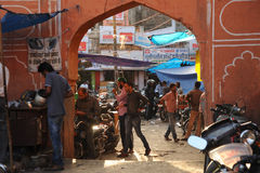 Back street market in the bazaar district of Jaipur, India. Royalty Free Stock Photos