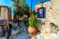 A back street scene in the mediaeval village of Lofou. Limassol Stock Image