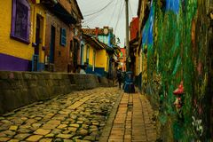 Back streets of Bogota, Colombia. Small street in the historic district La Candelaria of Bogota Colombia royalty free stock images