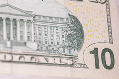 Back of a ten dollar bill Royalty Free Stock Image
