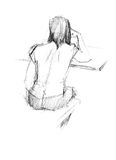 From the back there is a woman. Image of sitting from the back young woman Stock Illustration