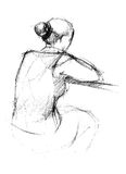 From the back there is a woman. Image of sitting from the back young woman vector illustration
