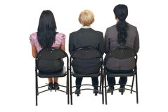 Back of three women at presentation royalty free stock photos