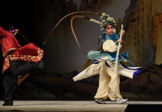 """Back thrust- Beijing Opera"""" Women Generals of Yang Family"""". This opera tells a patriotic story how does an old woman of a hundred years old go out Royalty Free Stock Images"""