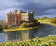 Back in time. An oil painting on canvas of the famous Leeds Castle in Kent surrounded by a peaceful lake with spring flowers blooming in yellow and white at the Royalty Free Stock Photos