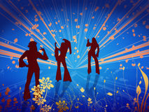 Back to the 60s. Three hippies  - back to the sixties illustration Royalty Free Stock Image