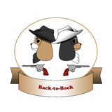 Back-to-back dogs. Two cavalier spaniel dogs sitting back to back with pistols Royalty Free Stock Images