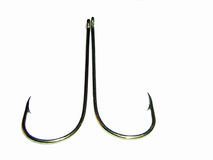 Back to back hooks. Two fishing hooks stock image