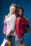 Back to back shopping warriors women Royalty Free Stock Images