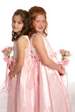 Back to Back sisters portrait. Portrait of two sisters back to back Royalty Free Stock Photo