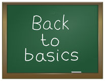 Back to basics. Illustration depicting a green chalk board with the words 'back to basics' written on it in white chalk Stock Images