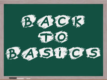 Back to Basics Chalkboard. A chalkboard with the concept words Back to Basics written / stenciled on it in white chalk Stock Photos